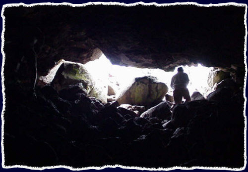 The Flagstaff Lava River Cave (Lava Tubes) from the inside at the opening - Summer 2000
