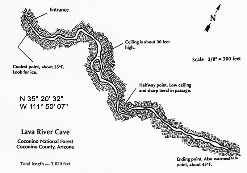 Interior map of the Flagstaff lava river cave (lava tubes)