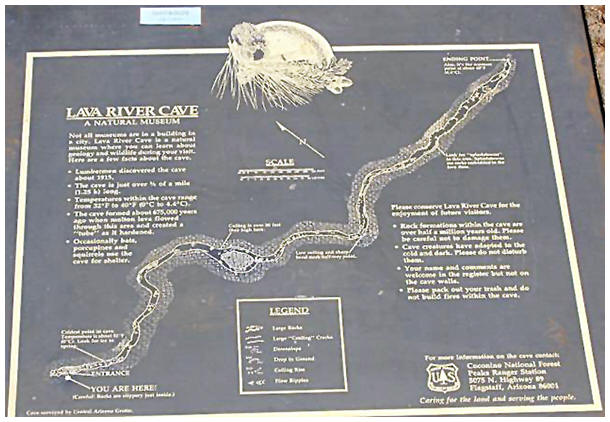The official sign at the opening of the lava river cave